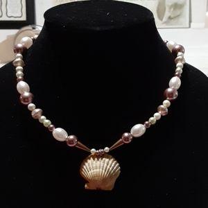 Handmade beaded seashell jewelry necklace